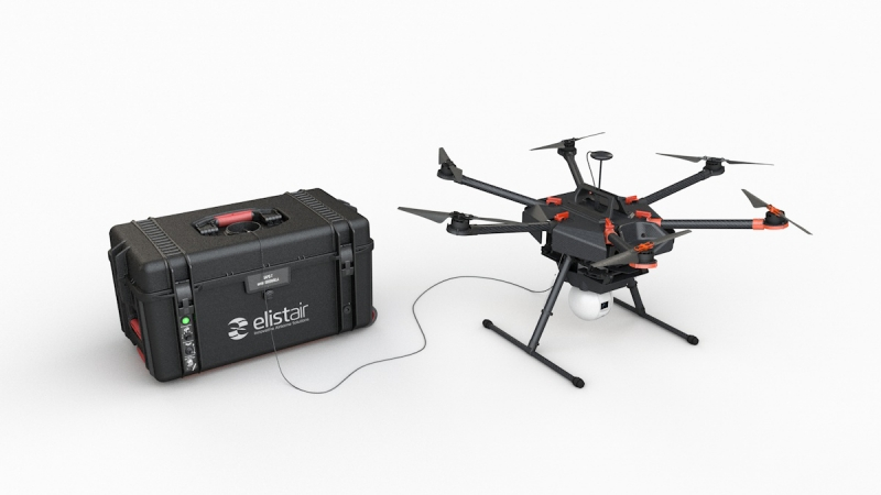 Drone and tethered drone station for security