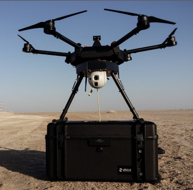 Tethering station for drone - unlimited autonomy