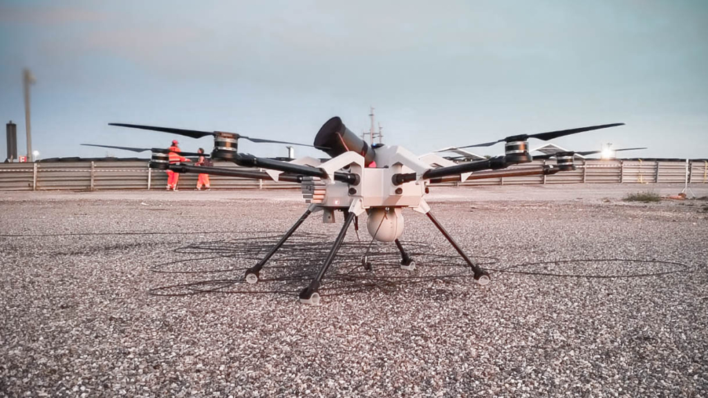 Orion tethered drone for security