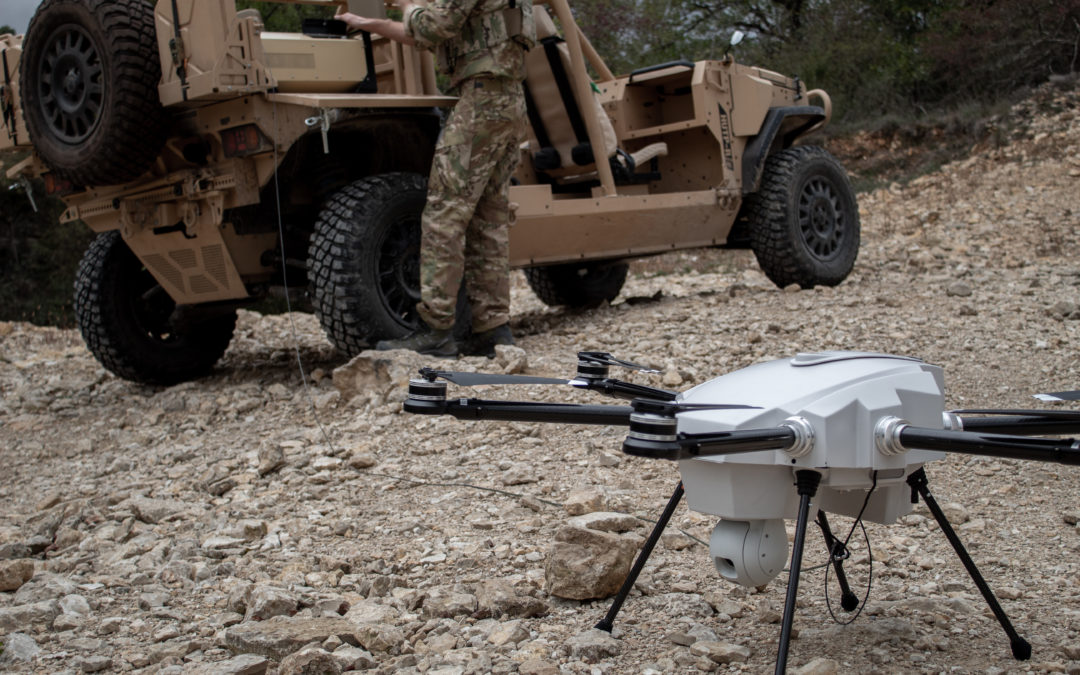 Tethere drone for border security