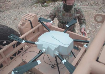 Tethered UAV system in military buggy vehicle ready to be deployed