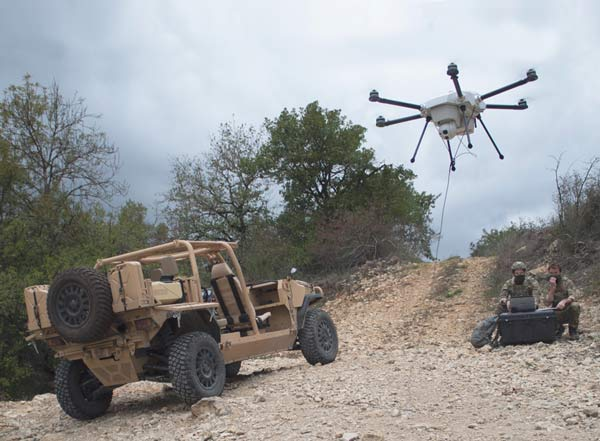 Orion tethered drone system deployment for defense and security